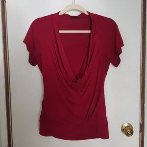 Red drape front slinky stretch tee